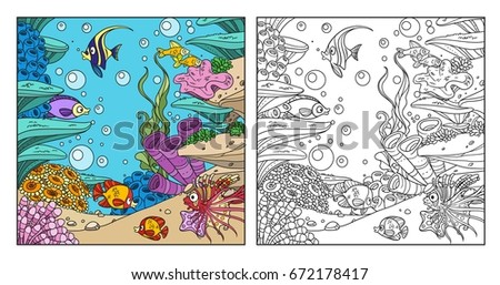 Underwater World With Corals Seaweed Anemones And Fishes Coloring Page On White Background