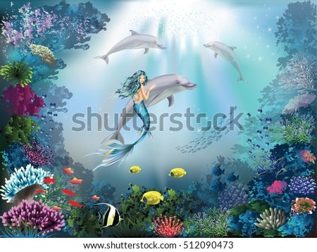 underwater world with dolphins