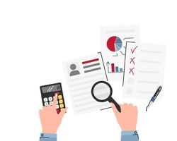Underwriter checking client documents for mortgage isolated. Human hands keeping magnifier and calculator. Papers with personal information, diagram, graph. Vector flat illustration with copy-space