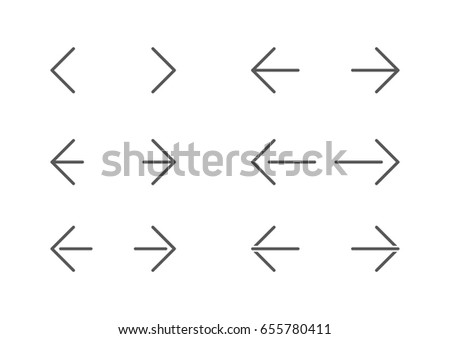 Undo and Redo Arrow Icon Set in line style. Motion sign. Forward and Back thin symbols.
