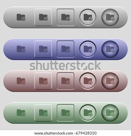 Undo directory last operation icons on rounded horizontal menu bars in different colors and button styles #679428310