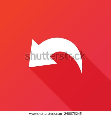 Undo Icon. Long shadow. Arrow back, undo icon, backward direction, flat design, background, cancel button