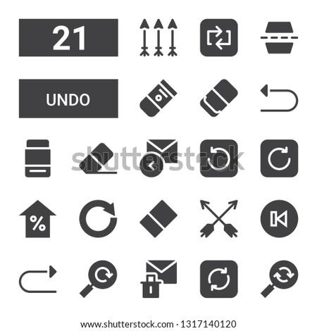 undo icon set. Collection of 21 filled undo icons included Reload, Refresh, Erase, Redo, Back, Arrows, Eraser, Circular arrow, Arrow, Reply, Undo, Flip, Repeat