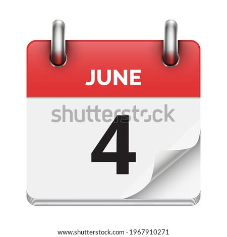 une 4 flat daily realistic calendar icon date vector image Photo stock ©