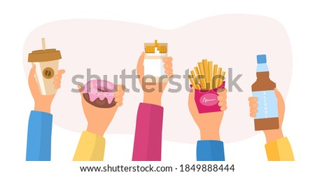 Unealthy lifestyle habits and obesity and bad health concept. Hands holding fast junk food, bad habits, waste of time. Flat cartoon vector illustration. Stockfoto ©