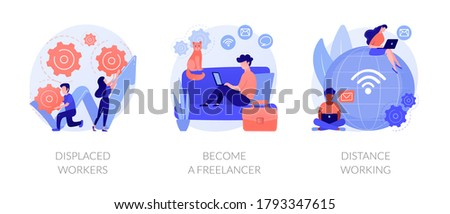 Unemployment and remote job opportunities abstract concept vector illustration set. Displaced workers, become a freelancer, distance working, entrepreneurship online, digital nomad abstract metaphor.