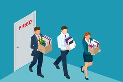 Unemployment, loss job, crisis, jobless and employee job reduction. Dismissed sad man carrying box with her things. Isometric vector illustration