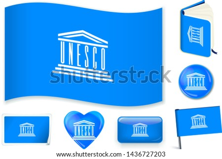 UNESCO national flag. Vector illustration. 3 layers. Shadows, flat flag, lights and shadows. Collection of 220 world flags. Accurate colors. Easy changes. Foto stock ©