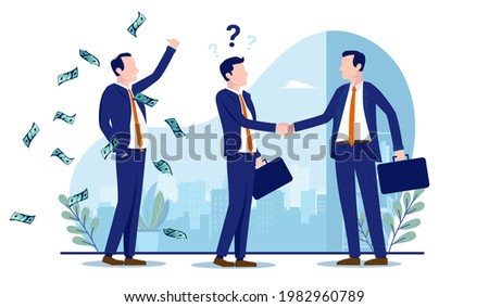 Unethical business scamming clients - Businessman doing deal with company getting tricked into a terrible deal. Scam, fraud and dishonesty concept. Vector illustration with white background. Photo stock ©