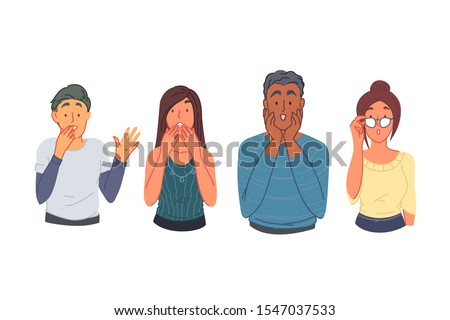 Unexpected surprise reaction concept. Diverse young people group, emotional men and women looking pleasantly amazed, happy astonished adults set. Happiness, excitement expression. Simple flat vector Stock foto ©