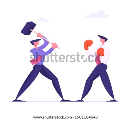 Unfair Fight, Businessman Holding Hammer Fighting with Man in Boxing Gloves. Manager Characters Mortal Combat. Business People Competition, Challenge or Leadership. Cartoon Flat Vector Illustration