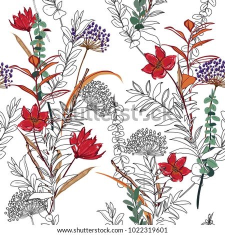 Unfinished flower Seamless Pattern forest and leaves, line hand drawn style  Isolated on white color. Botanical  Floral Decoration Texture.  for Fabric Print, Wallpaper Background.