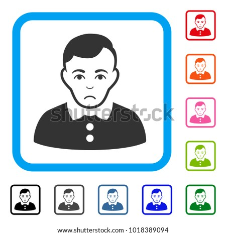 unhappy boy vector pictograph