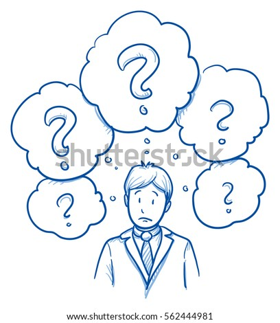 Unhappy business man, with lots of question marks in thought bubbles, concept for confusion, irritation, clue less. Hand drawn line art cartoon vector illustration.