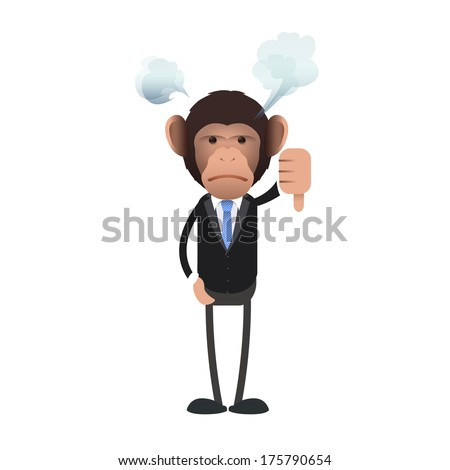 Unhappy business monkey with his thumb down over isolated background. Vector design.
