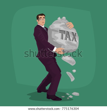 unhappy businessman carry rock