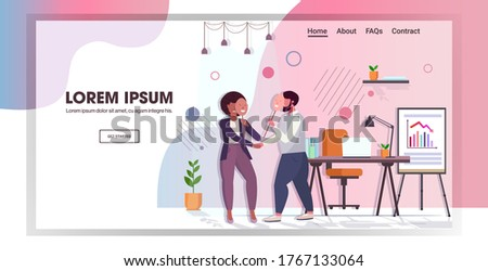 unhappy businesspeople covering face emotions behind positive mask insincerity in business hypocrite agreement concept office interior full length copy space vector illustration