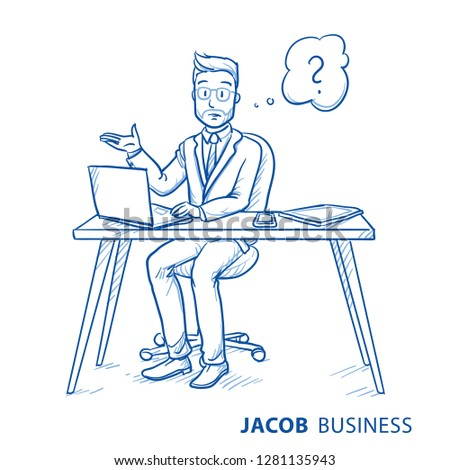 Unhappy, clueless business man, employee at his desk, raising hand, with question mark in thought bubble.  Hand drawn blue line art cartoon vector illustration