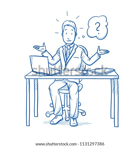 Unhappy, clueless business man, employee at his desk with laptop, tablet and smart phone, with question mark in thought bubble.  Hand drawn line art cartoon vector illustration