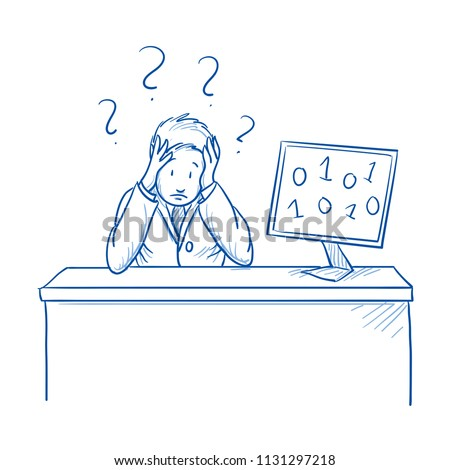 Unhappy, clueless business man, employee at his desk with screen and data chaos. Concept for confusing, user unfriendly software. Hand drawn line art cartoon vector illustration