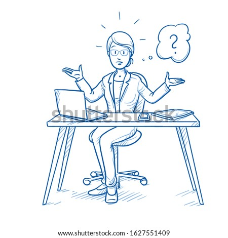 Unhappy, clueless business woman, employee at her desk with laptop, tablet and smart phone, with question mark in thought bubble.  Hand drawn blue line art cartoon vector illustration