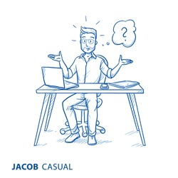 Unhappy, clueless young man in casual clothes, at his desk or home office, raising both hands, with question mark in thought bubble.  Hand drawn blue line art cartoon vector illustration