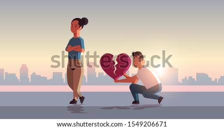 unhappy couple in depression having relationship problem life crisis break up divorce one-sided love concept sad man holding broken heart cityscape background flat full length horizontal vector