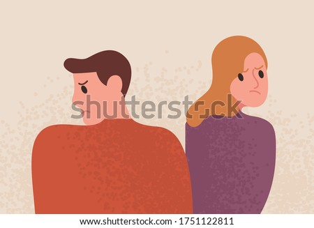 Unhappy couple with depressed face expression vector flat illustration. Angry woman and sad man having problem in relationship isolated on white background. Grumpy people feeling negative emotions