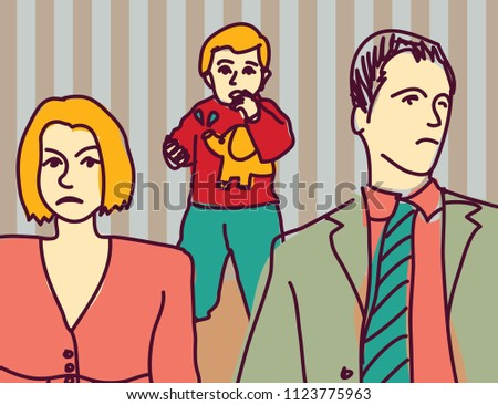 Unhappy family quarrel parents divorce couple sad child