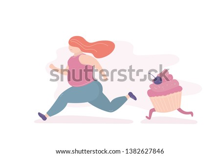 Unhappy fat girl runs away from a big cupcake,woman afraid of the problem of overweight and overeating,trendy style vector illustration