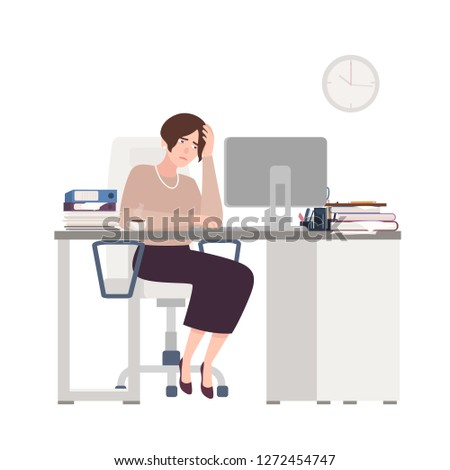 Unhappy female clerk sitting at desk. Sad, tired or exhausted woman at office. Stressful work, stress at workplace. Busy businesswoman, workaholic. Colorful vector illustration in flat cartoon style.