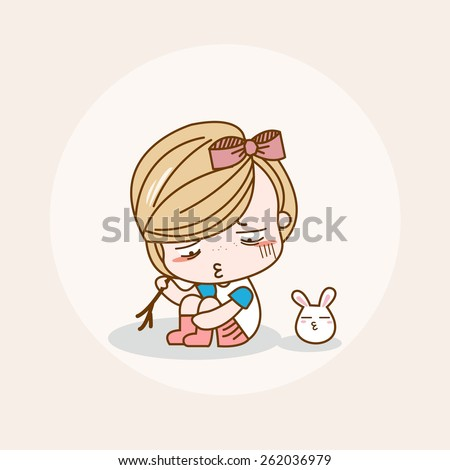 unhappy girl isolated vector