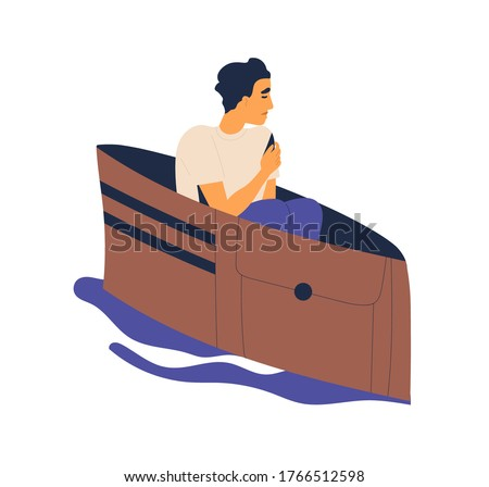 Unhappy man floating on pond in empty wallet vector flat illustration. Poor male loss wealth feeling lack of money isolated on white. Concept of economic crisis, bankruptcy and finance problem