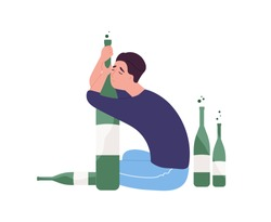 Unhappy man sitting on floor and hugging bottle.Young guy with alcohol addiction isolated on white background. Alcoholic, dipsomaniac, boozer or drinker. Flat cartoon colorful vector illustration.