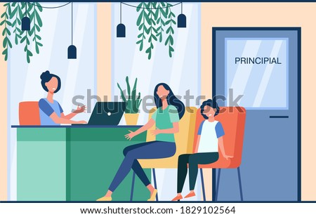Unhappy mom talking with angry principal director about son isolated flat vector illustration. Cartoon parent sitting in principal room. Education, school and family control concept ストックフォト ©