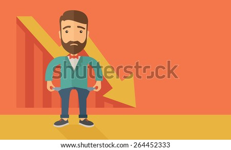 Unhappy, sad Caucasian hipster businessman with beard wearing a red bow tie standing with empty pockets. An arrow pointing downward showing that he is a failure. Loser, broke concept. A contemporary Stock photo ©