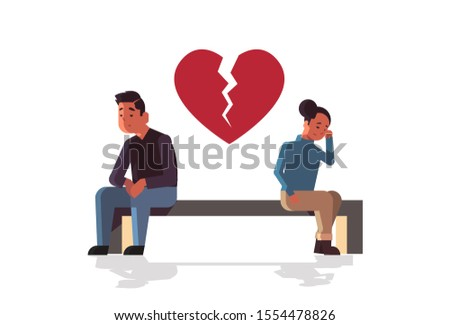 unhappy sad couple in depression having relationship problem life crisis break up divorce concept man woman with broken heart sitting wooden bench flat full length horizontal vector illustration