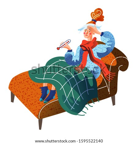 Unhappy sick young woman sitting in bed under blanket with thermometer and wet napkin on forehead. Ill mother get cold, has fever and flu. Disorder and illness. Vector cartoon flat illustration
