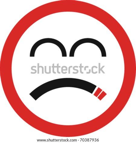 Unhappy smoking sign in vector
