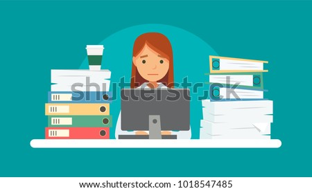 Unhappy stressed woman doing late at work with a lot of papers, piles of documents, computer. Office work, work load. Concept vector illustration in flat style.
