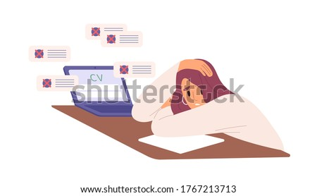 Unhappy woman with resume rejected by employer vector flat illustration. Hopeless female sit on desk with laptop during problems in job seeking isolated. Unsuccessful employment attempt at crisis