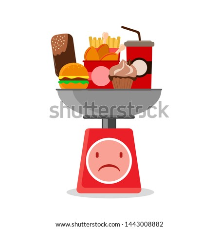 unhealthy and fast food on kitchen scales. The concept of a healthy diet and diet. vector illustration on white background