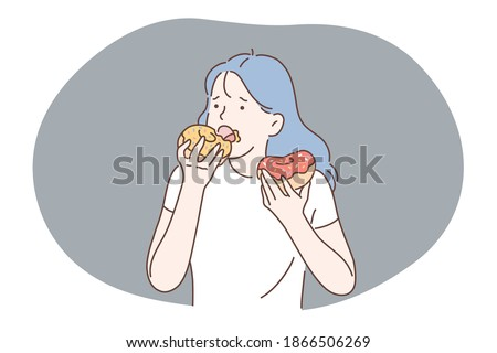 Unhealthy eating, fast and junk food, calories concept. Young stressed girl cartoon character eating fast food sugar fat donuts at home or in cafe. Overweight, snack, lifestyle, harmful eating