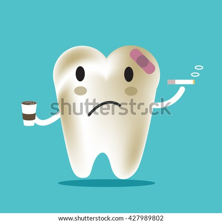 unhealthy tooth with coffee and
