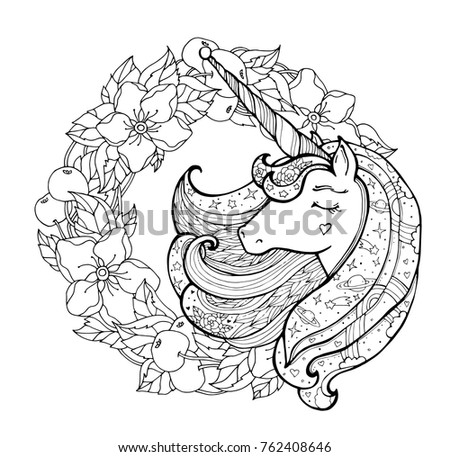 Unicorn And Apple Flower Wreath Magical Animal Vector Artwork Black White