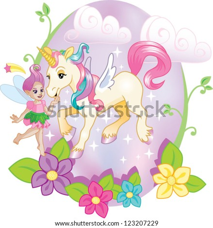 Stock Photo Unicorn and fairy