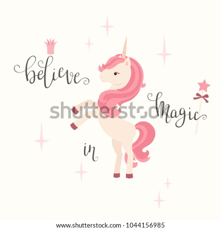 unicorn and hand lettering