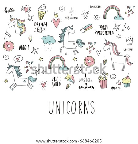 unicorn and magic cute print