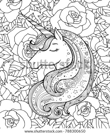 Stock Photo Unicorn and rose flowers. Vector artwork. Black and white. Coloring book pages for adults and kids. Funny character. Zentangle Illustration. Boho, bohemian. Fairy tale concept, amazing wonderland