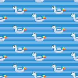 Unicorn background. White Unicorn floats. Pool. Inflatable circle. Seamless pattern. White animal on water surface.